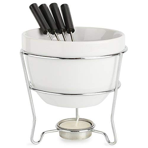 Elegant Chocolate Fondue Bowl Set with 4 Dipping Forks & Tea Light Holder - For the Perfect Melted, Chocolate & Cheese Serving - Even Heat Distribution - Dishwasher, Microwave and Oven Safe 6 oz.