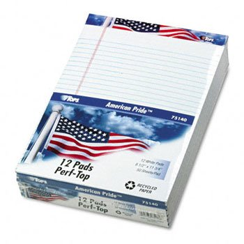 TOPS® American Pride™ Writing Pad PAD,AMRCN PRD RECY 12,WE (Pack of3) by Tops
