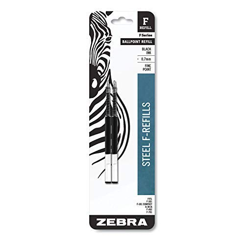 Ink Black Zebra - Zebra F301, F301 Ultra, F402, 301A, Spiral Ballpoint Pen Refills, 0.7mm, Fine Point, Black Ink, 2/Pack, Sold as 3 Packs, Total of 6