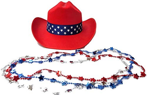 Kids July 4th Patriotic Red White & Blue Cowboy Hat, Metallic Star Bead Necklaces -