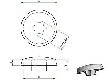 Abdeckkappen für Torx Schrauben TX25 weiß Typ 1 LDPE 10 Stück