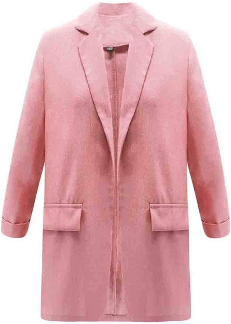 XQS Womens Notched Lapel Open Front Casual Suit Blazer Jackets