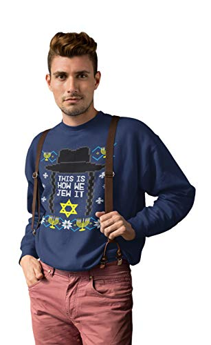 This is How we Jew It Funny Hanukkah Gifts Chanukah Crewneck Sweater Holiday Outfits FAT-615 (Small, Navy)