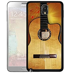 Acoustic Guitar With Red Music Notes Hard Snap On Cell Phone Case Cover (Samsung Galaxy Note III 3 N9002)
