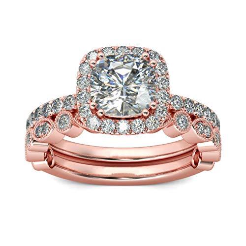 Iumer Rose Gold Bridal Set Zircon Wedding Engagement Couple Stacking Ring Set Women Jewelry,7