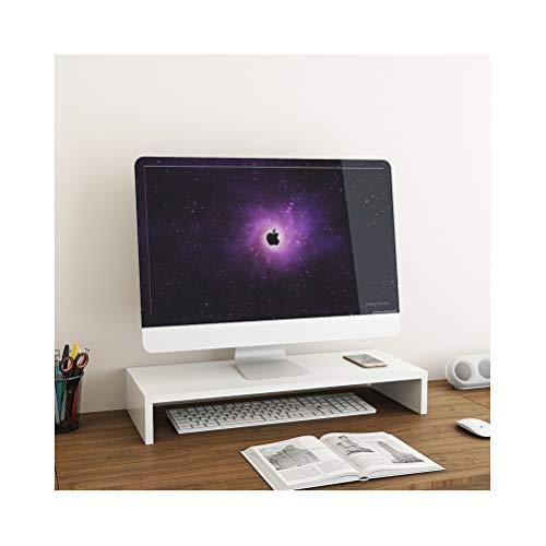 Computer Monitor Riser Wood, WUDENHOM Universal Screen TV Printer Laptop Shelf Stand Riser Desk Organizer Save Space for Home&Office(White)