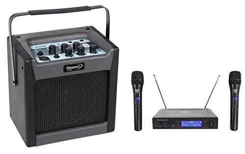 "FENDER PASSPORT MINI Portable 6.5"" Powered Speaker/Monitor+Dual Wireless Mics"