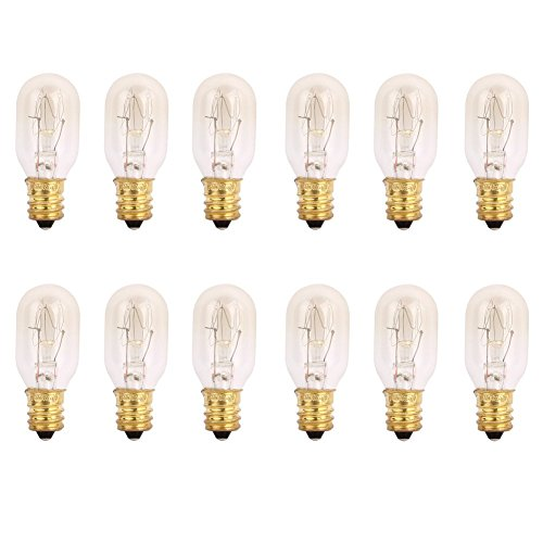 TGS Gems 25 Watt Himalayan Salt Lamp Light Bulbs Incandescent Bulbs E12 Socket-12Pack ()