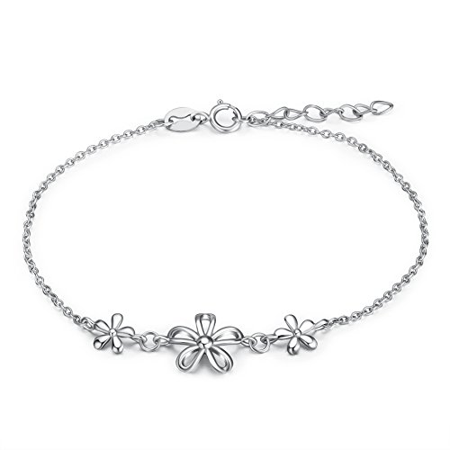 POPLYKE Sterling Silver Daisy Flower Adjustable Bracelet for Girls 6.5
