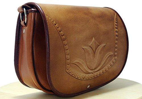 Bolso de cuero repujado diseño único tulipán