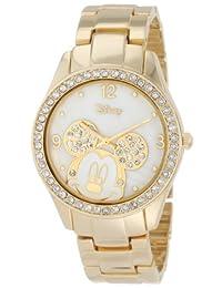 Disney mk2127Mickey Mouse Rhinestone acento Gold-tone reloj de pulsera