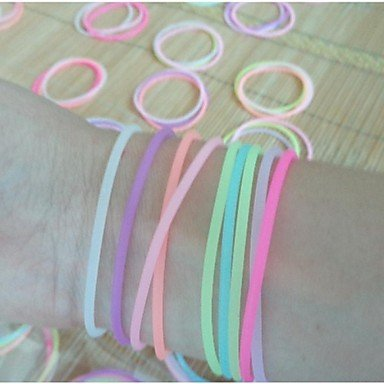 SuSy (3PC) Beautiful Fashion Fluorescent Color Can Stretch Silicone Bracelet (Color Random), bracelets, bangles, bangle bracelets, charm bracelets