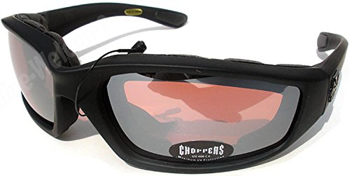 Night Driving Riding Padded Motorcycle Glasses 011 Black Frame with Yellow Lenses (Black - High Definition - Choppers Sunglasses
