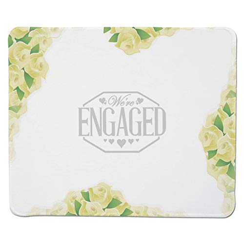 SCOCICI Mouse Pad with Locking Edge,We are Engaged Announcement with Roses and Leaves Print,Non-Slip Rubber Base Mousepad,for Laptop,Computer,PC,Keyboard (11.8