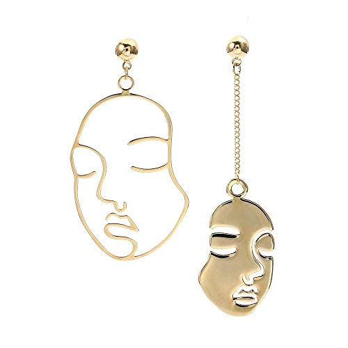 VANVENE Geometric Human Face Ethnic Earrings Skull Head Earrings for Women Gold Tone Vintage (Geometric Vintage Earrings)