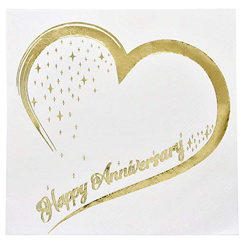 Gift Boutique 100 Count 3 Ply Happy Anniversary Napkins Wedding Party Favor Supplies Decorations White & Metallic Gold Foil Luncheon Napkin Heart Designs ()