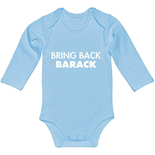 Indica Plateau Baby Onesie Bring Back Barack Light Blue for 6 Months Long-Sleeve Infant Bodysuit ()