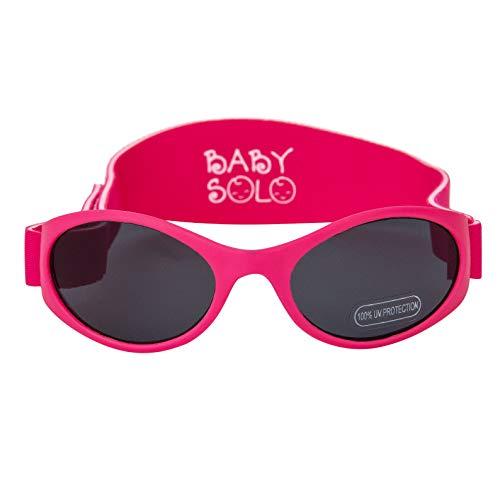 Baby Solo Babyfarer Baby Toddler Sunglasses/Infant Newborn Sunglasses (0-36 months, Matte HOT Pink Frame w/Solid Black ()