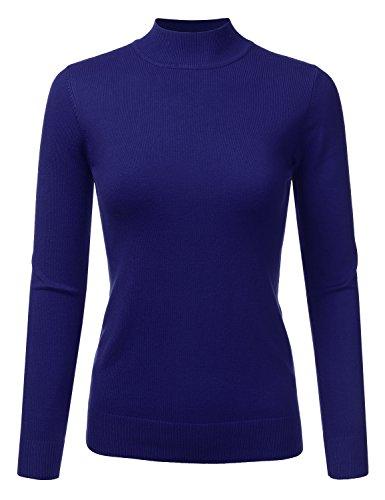 JJ Perfection Women's Soft Long Sleeve Mock Neck Knit Sweater Top RoyalBlue XL (Knit Turtleneck Sweater)