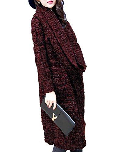 [モノア] ロング ニット カーディガン レディース スヌード付き 杢編み ローゲージ ロング丈 コーディガン