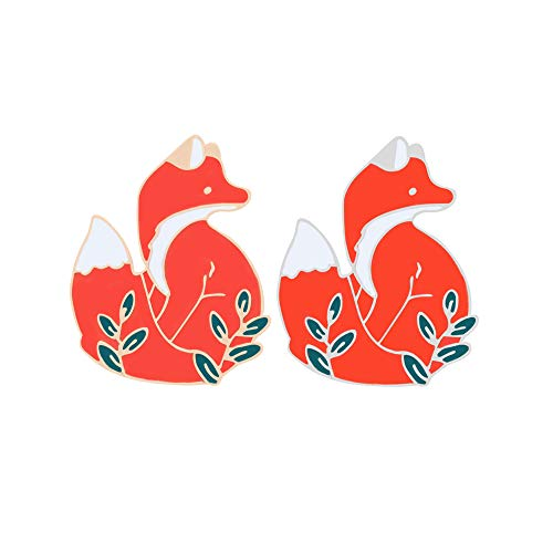 SloveM Red Fox Brooch Animal Brooch Enamel Lapel Pins Badges for Clothing Bag Backpacks Jackets Hat