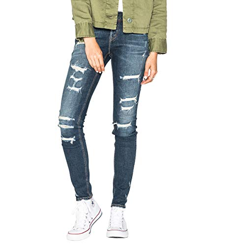 Silver Jeans Co. Women's Suki Curvy Fit Mid Rise Skinny Jeans, Vintage Medium Destroyed, 32 X 31