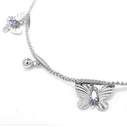 Glamorousky Elegant Butterfly Anklet with Purple Austrian Element Crystals (3550) by Glamorousky (Image #3)'