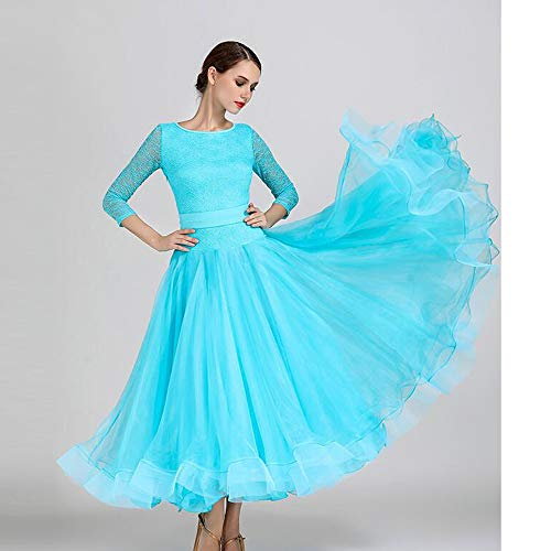 Cpdz xxl Dress Dimensioni Lunghe Maniche Organza Splicing 2xl Partito Gonna Capodanno Prom Gonne Ladies Pizzo Cintura Xl Più Elastica Ondeggianti Dance rTqErwR
