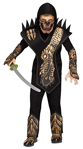 Dragon Ninja Halloween Costume (Fun World Skeleton Dragon Ninja Gold Costume, Small 4 - 6,)