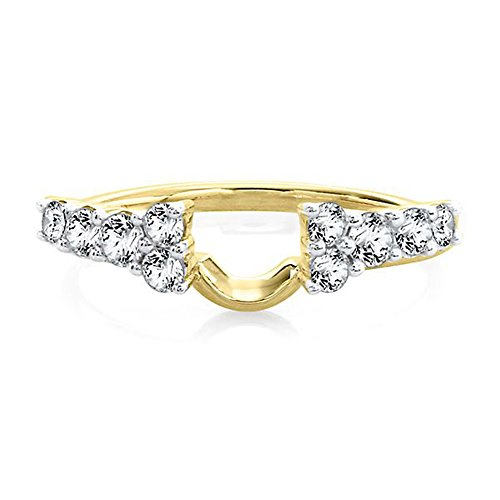 14K Yellow Gold Plated 1/2 ct Simulated Diamond Solitaire Engagement Ring Enhancer Wrap 6 Alloy
