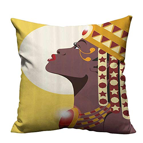 Decorative Couch Pillow Cases Beautiful Sexy African Woman Pr Cess Crown Aga st Sun Easy to Wash(Double-Sided Printing) 17.5x17.5 inch