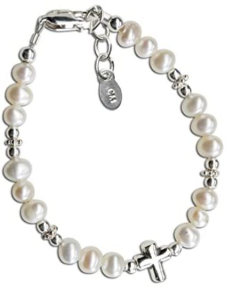 Childrens Sterling Silver First Communion Baptism Cross Bracelet with Cultured Pearl and Crystal