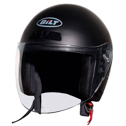 Helmet Sm Matte (BILT Roadster Open-Face Motorcycle Helmet - SM, Matte Black)