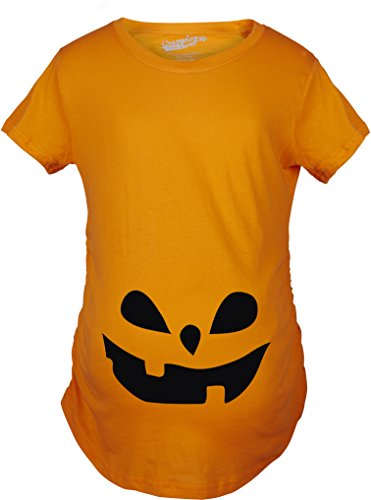Maternity Teardrop Eyes Pumpkin Face Halloween Pregnancy Announcement T shirt (Orange) (Halloween Pumpkin F Off)