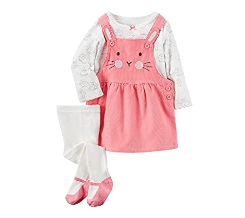 Carter's Baby Girls' 3 Piece Tee & Bunny Jumper Set 9 Months - Corduroy Jumper Dress Set