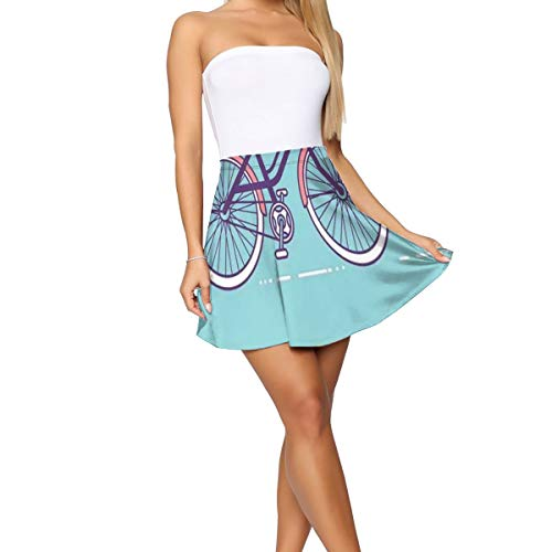 - Women's Short Skirt,Retro Pastel Bike with Basket and Text My Life is A Beautiful Ride XL