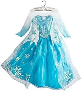 DaHeng Girls Princess Elsa Fancy Dress Costume