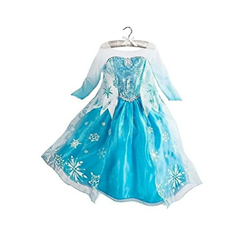 DaHeng Girls Princess Elsa Fancy Dress Costume (3-4years) Blue]()
