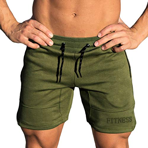 Sunyastor Sport Shorts Pants for Men Gym Workout Shorts Elasticated Shorts Fitted Training Bodybuilding Jogger Trousers Green