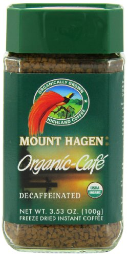 Mount Hagen Organic Freeze Dried Instant Decaffeinated Coffee, 3.53-Ounce Jars (Pack of 6)