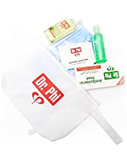 Dr. Phi Hygiene Kit, Pouch with Antibacterial hand sanitizer - 70 Ethyl Alcohol - Antibacterial Soap Bar 50g, Fresh Mint Mouthwash & Antibacterial wipe 70 Ethyl Alcohol
