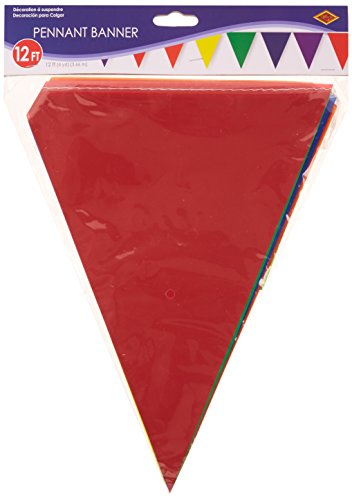 Beistle 50707-RB Rainbow Indoor/Outdoor Pennant Banner, 10 by 12-Feet -