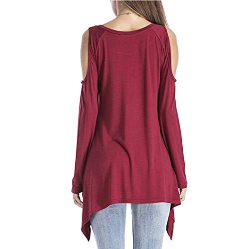 Bringbring Vin Dnudes Couleur Asymetrique Tunique Du Shirt Blouse Uni T paules Tops Sexy Chemise Femme qScRTWw7p