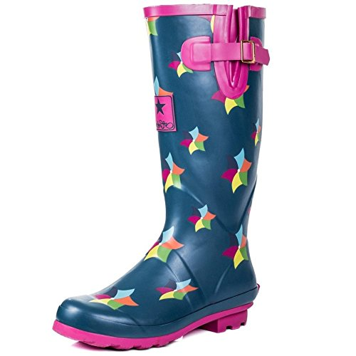 Onlineshoe FBA - Funky Flat Wellie Wellington Festival Rain Boots - Assorted Colours Windmill