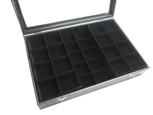 Glass Top Black Velvet 2 Layers Jewelry Display Box (30 Grids and 2 of 8 Grids Insert Cases) from Princess-J