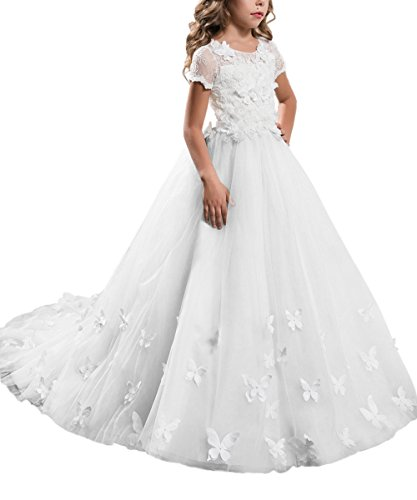 PLwedding Elegant Long Lace Applique Flower Girl Dress Wedding Birthday Dress Size 12 White