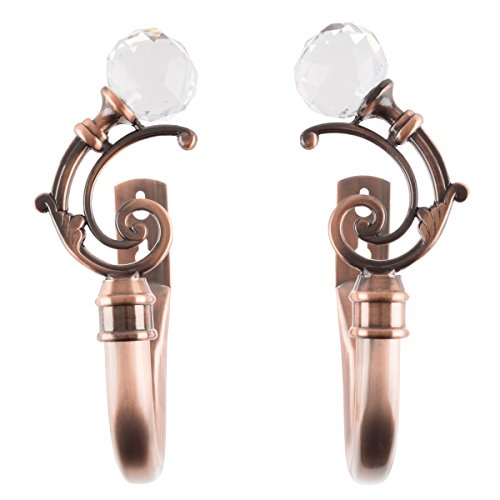 Bedford Home Curtain Holdbacks with Mounting Hardware Drape Tieback Hooks with Crystal Ball Finials for Home Decor, Set of 2, Copper