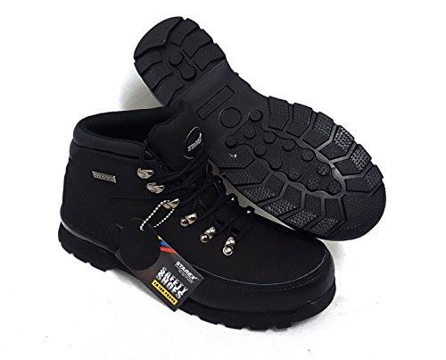 Damen für schwarz die 8 mit Schwarz Stiefeletten und Arbeit Leder Stiefel Herren Stahlkappe Sicherheitsschuhe für aus Hqw85xRO