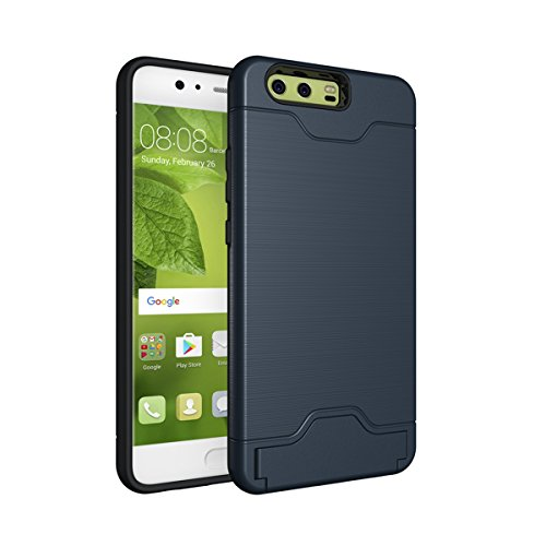 Price comparison product image MOONMINI [Card Slot]Soft TPU + Hard PC Dual Layer Rugged Hybrid Slim Fit Shockproof Full Body Protective Case Cover with Kickstandfor Huawei P10 Plus Case Navy Blue