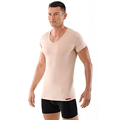 Discount ALBERT KREUZ men's invisible V-neck business undershirt with short sleeves stretch-cotton nude beige